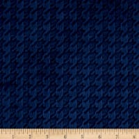 Shannon Minky Cuddle Embossed Houndstooth Navy