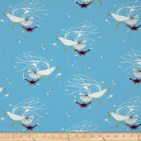 Birch Organic Charley Harper Maritime Seagull and Crab Blue