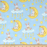 Comfy Flannel Bunny On Moon Multi