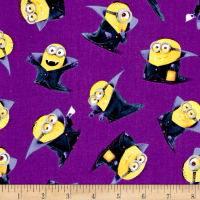 QT Fabrics Bite Me Count Minions Purple
