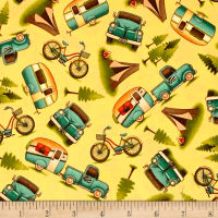 Outdoor Adventure Camping Motifs Toss Yellow