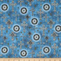 QT Fabrics Heavenly Crosses Light Chambray