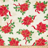 QT Fabrics Joy To The World Metallic Poinsettia Toss Cream