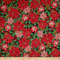 QT Fabrics Joy To The World Metallic Poinsettia & Amaryllis Forest