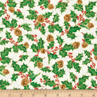 QT Fabrics Joy To The World Metallic Holly & Pinecones Cream