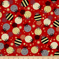 QT Fabrics All That Glitters Metallic Ornaments Red