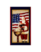 QT Fabrics Peace On Earth Patriotic Santa 24 In. Panel Red