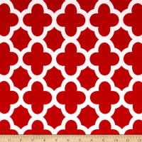 Stretch ITY Knit Quatrefoil Print Red