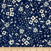 Cotton + Steel Bluebird Fox Tracks Blue