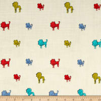 Cotton + Steel Clover Double Gauze Dog Lions Blue