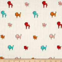 Cotton + Steel Clover Double Gauze Dog Lions Pink