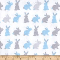 Flannel Cute Bunny Blue/Grey