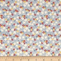 Pinafores & Petticoats Multi Floral Ivory/Blue