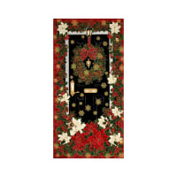 "Timeless Treasures Glamourous Holiday 24"" Christmas Panel Red Metallic"