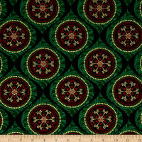 Joyful Metallic Ornamental Medallion Green