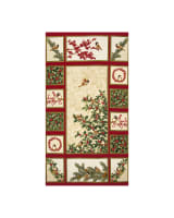"Chickadees & Berries Metallic Chickadee Panel 24"" Red/Vanilla"