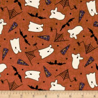 Pumpkin Party Flannel Ghosts And Bats Orange