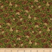 Yuletide Magic Pine Cones Green Metallic