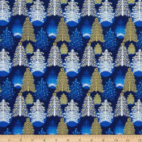 Seasons Greetings Trees Blue Metallic