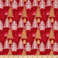 Seasons Greetings Trees Red Metallic
