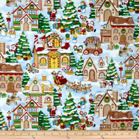 Seasons Greetings Christmas Village Allover Multi