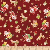 Seasons Greetings Santa & Reindeer Red