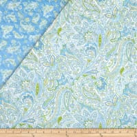 Montego Bay Double Sided Quilted Paisley Floral Aqua