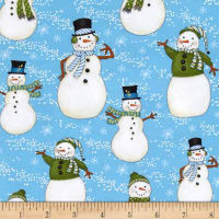 Snow Buddies Flannel Snowmen All Over Blue