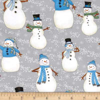 Snow Buddies Flannel Snowmen All Over Gray