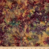 Island Batik Holiday Happenings Metallic Snowflake Mauve