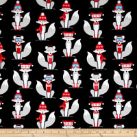 Kaufman Polar Pals Holiday Foxes Black