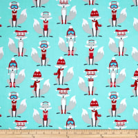 Kaufman Polar Pals Holiday Foxes Aqua