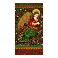 Kaufman Holiday Flourish Metallics Angel 24 In. Panel Black