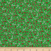 Storybook Christmas Candy Canes & Peppermints Green