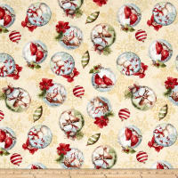 Woodland Holiday Ornaments Toss Dark Cream