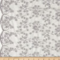 Telio Daisy Embroidered Lace Silver