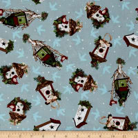 A Christmas To Remember Birdhouses Light Blue