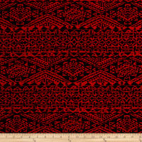 Stretch ITY Knit Aztec Print Red/Black