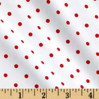 Telio Morocco Blues Stretch Poplin Small Polka Dots Red/White