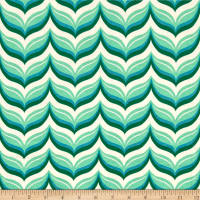Riley Blake Cotton Jersey Knit Acorn Leafy Chevron Teal