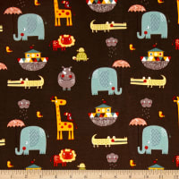 Riley Blake Cotton Jersey Knit Giraffe Crossing 2 Main Brown
