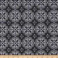 Telio Bloom Stretch Cotton Sateen Mosaic Print Black
