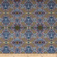 Telio Morocco Blues Stretch Poplin Mosaic Print Multi