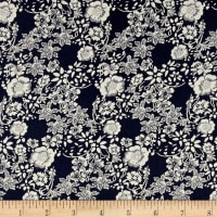 Telio Hampton Court Cotton Poplin Floral Print Navy
