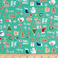 Riley Blake Cotton Jersey Knit Cozy Christmas Main Teal