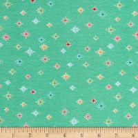 Riley Blake Cotton Jersey Knit Cozy Christmas Sparkle Mint