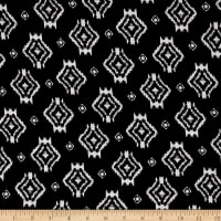 Jersey Knit Aztec Inspired Diamond Print Black White
