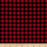 Kaufman Burly Beavers Flannel Check Cardinal