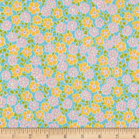 Kaufman Cozy Cotton Flannel Flower Aqua