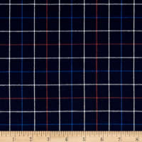 Kaufman Indigo Plaid Shirting Red